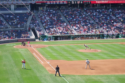 The Lounsbury family invited us to a Sunday afternoon game to see the Washington Nationals play the San Diego Padres. Unfortunately, the Nats lost 6 to 2. We still had a great time though and Christopher almost caught a ball from the right fielder who tossed it into the stands after warming up between innings. (Image taken with FinePix F10 at ISO 200, f5.0, 1/419 sec and 24mm)