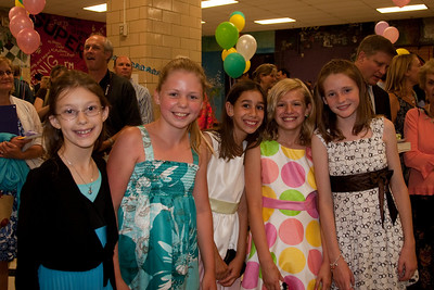 Meredith, Allie, Anna, Lindsay and Sydney. Taylor Elementary 5th Grade Graduation (15 Jun 2009) (Image taken with Canon EOS 20D at ISO 400, f4.0, 1/60 sec and 19mm)