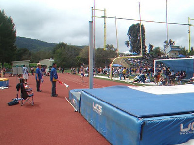 After sitting on my butt for a while, I realized I could video some of Nathan's jumps with my little point and shoot camera. Unfortunately for him, I was too late and had missed all of his clear jumps. Fortunately for him, even though he wasn't feeling well, he placed 5th in pole vault for King City High School at the Gilroy track meet.