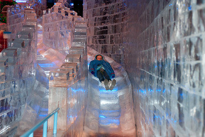 Sydney on the ice slide at Gaylord National's ICE! (24 Dec 2009) (Image taken by Kathy T. Kane on 24 Dec 2009 with Canon EOS 20D at ISO 400, f4.0, 1/60 sec and 40mm)