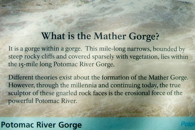 What is Mather Gorge? It is a gorge within a gorge. This mile-long narrows, bounded by steep rocky cliffs and covered sparsely with vegetation, lies within the 15-mile long Potomac River Gorge. Different theories exist about the formation of the Mather Gorge. However, through the millennia and continuing today, the true sculptor of these gnarled rock faces is the erosional force of the powerful Potomac River. Great Falls Park (09 May 2009) (Image taken with FinePix F10 at ISO 80, f4.5, 1/340 sec and 8mm)