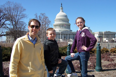 Chris Giacomazzi with Christopher and Sydney Kane outside the East Front of the U.S. Capitol  (06 Mar 2010) (Image taken by Patrick R. Kane on 06 Mar 2010 with FinePix F10 at ISO 80, f4.5, 1/419 sec and 8mm)