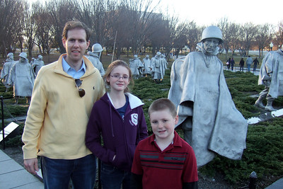 Chris Giacomazzi with Sydney and Christopher Kane at the Korean War Veterans Memorial (06 Mar 2010) (Image taken by Patrick R. Kane on 06 Mar 2010 with FinePix F10 at ISO 200, f2.8, 1/125 sec and 8mm)