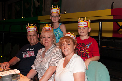 Gale and Ivan Milic with Kathy, Sydney and Christopher Kane. We enjoyed an 11th century-style dinner and show at Medieval Times (Image taken by Patrick R. Kane on 29 Aug 2010 with Canon EOS 20D at ISO 800, f4.5, 1/60 sec and 23mm)