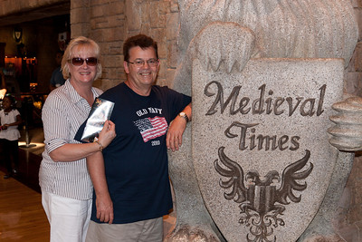 Gale and Ivan Milic. We enjoyed an 11th century-style dinner and show at Medieval Times (Image taken by Patrick R. Kane on 29 Aug 2010 with Canon EOS 20D at ISO 200, f4.5, 1/60 sec and 28mm)