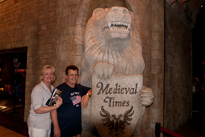 Gale and Ivan Milic. We enjoyed an 11th century-style dinner and show at Medieval Times (Image taken by Patrick R. Kane on 29 Aug 2010 with Canon EOS 20D at ISO 200, f4.5, 1/60 sec and 19mm)