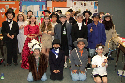 Christopher, as Robert E. Lee, and his Taylor Elementary School class who were studying important figures in American history (Image taken by Kathy T. Kane on 11 Jun 2010 with FinePix F10 at ISO 800, f2.8, 1/120 sec and 8mm)