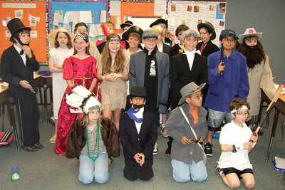 Christopher, as Robert E. Lee, and his Taylor Elementary School class who were studying important figures in American history (Image taken by Kathy T. Kane on 11 Jun 2010 with FinePix F10 at ISO 800, f2.8, 1/100 sec and 8mm)