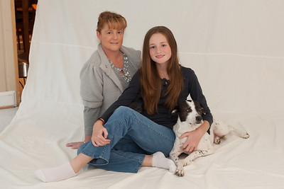 Kathy with Sydney (almost 13) and Dolly in an attempt to get a good Christmas picture. We ended up retaking the pictures the following weekend with more success. (Image taken by Patrick R. Kane on 07 Nov 2010 with Canon EOS-1D Mark III at ISO 200, f5.6, 1/0.3 sec and 50mm)