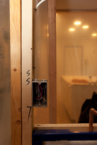 Vanity light switch above the toilet (Image taken by Patrick R. Kane on 05 Aug 2011 with Canon EOS-1D Mark III at ISO 400, f5.6, 1/60 sec and 29mm)