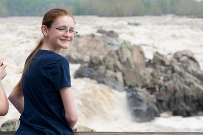 Sydney enjoying the view at Great Falls Park during a visit with Kathy's niece, Anita. (Image taken by Patrick R. Kane on 20 Apr 2011 with Canon EOS-1D Mark III at ISO 200, f6.3, 1/500 sec and 75mm)