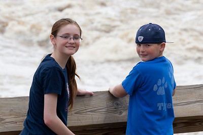 Sydney and Christopher enjoying the view at Great Falls Park during a visit with Kathy's niece, Anita. (Image taken by Patrick R. Kane on 20 Apr 2011 with Canon EOS-1D Mark III at ISO 200, f7.1, 1/800 sec and 140mm)