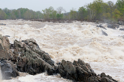 The water is flowing quickly through Great Falls Park after some recent rain. At Little Falls (10 miles downstream) the water is 7.6-feet high and flowing at 68,800 cubic feet per second. (Image taken by Patrick R. Kane on 20 Apr 2011 with Canon EOS-1D Mark III at ISO 200, f9.0, 1/640 sec and 70mm)