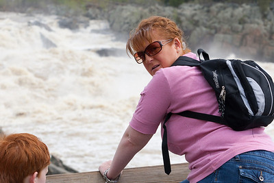 Kathy enjoying the view at Great Falls Park during a visit with Kathy's niece, Anita. (Image taken by Patrick R. Kane on 20 Apr 2011 with Canon EOS-1D Mark III at ISO 200, f7.1, 1/400 sec and 70mm)