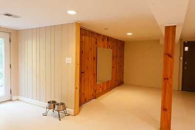 Basement before demolition. The two doors on the knotty pine wall go to the old laundry room (left) and half bath (right). (Image taken by Patrick R. Kane on 22 Jul 2011 with Canon EOS-1D Mark III at ISO 800, f11.0, 1/0.3 sec and 20mm)