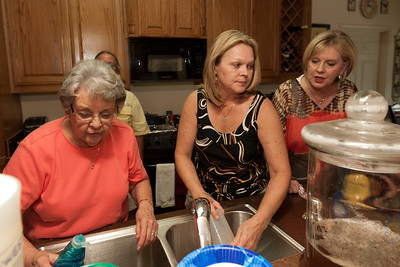 Mary Clare, Cheryl and Cheryl on kitchen duty during Bill Kane's 80th Birthday Celebration (Image taken by Patrick R. Kane on 10 Sep 2011 with Canon EOS-1D Mark III at ISO 200, f4.0, 1/60 sec and 16mm)