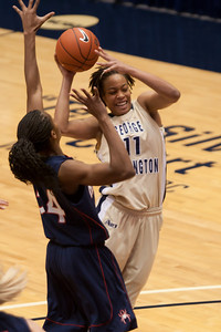 #11 Brooke Wilson of the George Washington University women's basketball team playing against the Richmond Spiders. The Colonials let their 35-30 advantage at half-time slip away in a 55-68 loss to the Spiders. (Image taken by Patrick R. Kane on 08 Jan 2011 with Canon EOS-1D Mark III at ISO 800, f2.8, 1/500 sec and 145mm)