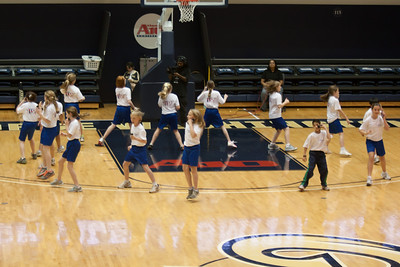 The Taylor Elementary School's 5th Grade Dance Team performing during half-time at the George Washington University and Richmond women's basketball game. The dancers did a great job. Unfortunately for the Colonials, they let their 35-30 advantage at half-time slip away in a 55-68 loss to the Spiders. (Image taken by Patrick R. Kane on 08 Jan 2011 with Canon EOS-1D Mark III at ISO 800, f2.8, 1/500 sec and 80mm)