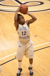 #12 Danni Jackson of the George Washington University women's basketball team playing against the Richmond Spiders. The Colonials let their 35-30 advantage at half-time slip away in a 55-68 loss to the Spiders. (Image taken by Patrick R. Kane on 08 Jan 2011 with Canon EOS-1D Mark III at ISO 800, f2.8, 1/500 sec and 153mm)