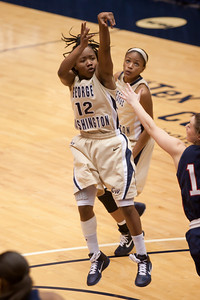#12 Danni Jackson of the George Washington University women's basketball team playing against the Richmond Spiders. The Colonials let their 35-30 advantage at half-time slip away in a 55-68 loss to the Spiders. (Image taken by Patrick R. Kane on 08 Jan 2011 with Canon EOS-1D Mark III at ISO 800, f2.8, 1/500 sec and 170mm)