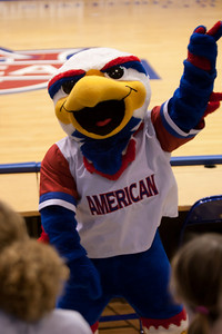 Clawed the Eagle rallying the crowd at the start of the American University and Holy Cross women's basketball game. The Eagles beat the Crusaders 84 to 53. (Image taken by Patrick R. Kane on 22 Jan 2011 with Canon EOS-1D Mark III at ISO 1600, f2.8, 1/320 sec and 70mm)
