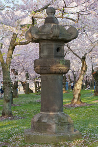 Japanese Stone Lantern  Presented to the city of Washington on March 30, 1954, this stone lantern symbolizes the enduring cultural partnership that re-emerged between Japan and the United States after World War II. Its twin still stands in Tokyo's Ueno Park amid a grove of cherry trees.  Part of a gift of giving cycle that began in 1912 with Japan's donation of cherry trees. This lantern commemorates the 100th anniversary of Commodore Matthew Perry's historic mission to Japan.  The National Park Service and the National Conference of State Societies (NCSS) have conducted the Lantern Ceremony since 1954. Every year, the lantern is lit by the Embassy of Japan's appointed Cherry Blossom Princess. The audience counts down from five, and like the Olympic torch, the lantern is lit in an exciting traditional event that signals the arrival of spring and represents one of the more beautiful times in the Nation's Capital.  This year's National Cherry Blossom Festival honors the 100-year anniversary of the gift of trees (Image taken by Patrick R. Kane on 23 Mar 2012 with Canon EOS 5D at ISO 100, f11.0, 1/30 sec and 70mm)