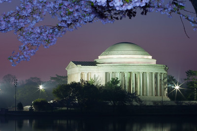 The Thomas Jefferson Memorial and cherry blossoms just before sunrise. This year's National Cherry Blossom Festival honors the 100-year anniversary of the gift of trees (Image taken by Patrick R. Kane on 23 Mar 2012 with Canon EOS 5D at ISO 200, f22.0, 1/13 sec and 95mm)