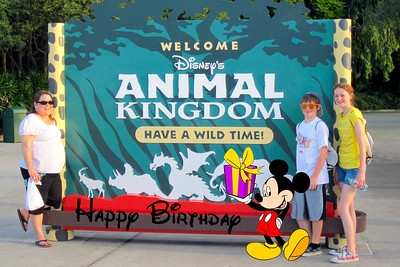 Aunt KK celebrating her 50th birthday with Christopher and Sydney at Disney's Animal Kingdom (Image taken by Kathy L. Kane on 28 May 2012 with Canon PowerShot ELPH 100 HS at ISO 0, f4.0, 1/200 sec and 10.9mm)