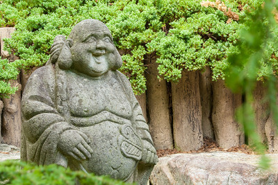 Hotei, the Japanese god of happiness and prosperity in the Japanese-style Garden at Hillwood Estate, Museum & Gardens (Image taken by Patrick R. Kane on 29 Sep 2012 with Canon EOS-1D Mark III at ISO 200, f22.0, 1/0.3 sec and 88mm)