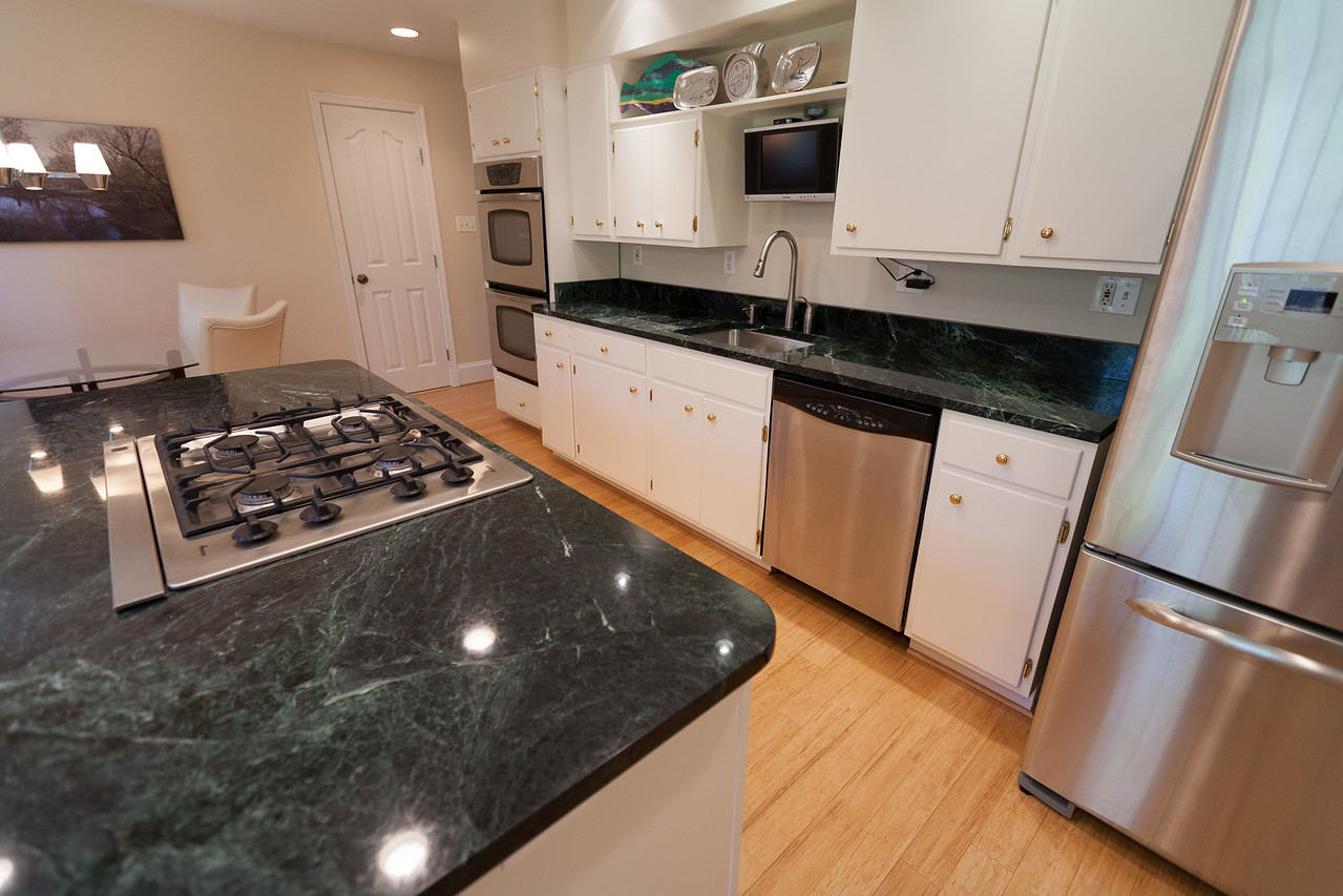 Delightful We Replaced The Blue Formica Countertops With Vermont Verde Antique, A Dark  Green Serpentine Stone