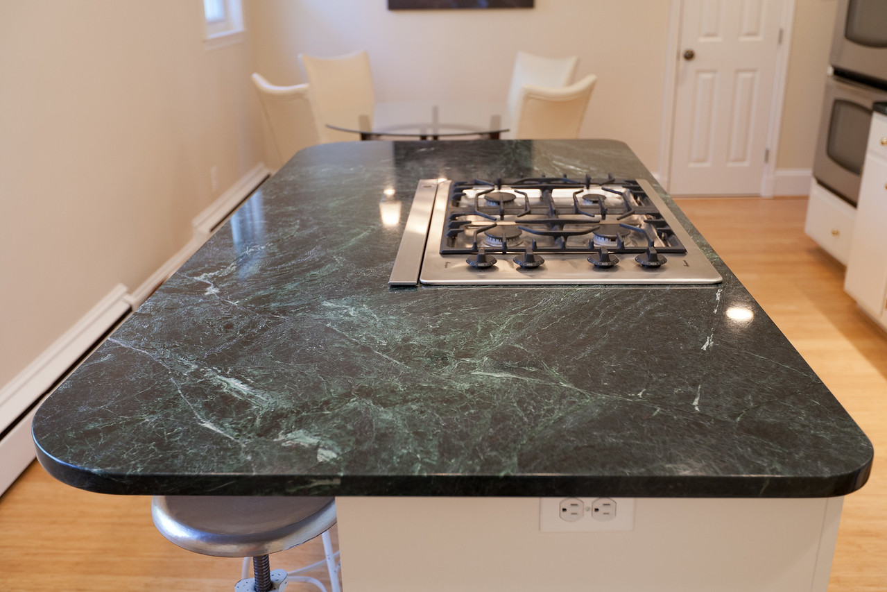 Elegant We Replaced The Blue Formica Countertops With Vermont Verde Antique, A Dark  Green Serpentine Stone