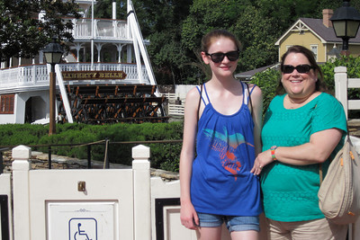 Sydney and Aunt KK in front of the Liberty Belle Riverboat at Disney's Magic Kingdom (Image taken by Kathy L. Kane on 27 May 2012 with Canon PowerShot ELPH 100 HS at ISO 0, f4.5, 1/800 sec and 12.8mm)