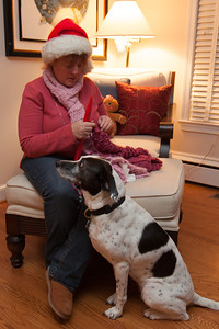Kathy and Dolly enjoying Christmas Eve 2012 (Image taken by Patrick R. Kane on 24 Dec 2012 with Canon EOS 5D Mark II at ISO 400, f5.6, 1/6 sec and 23mm)