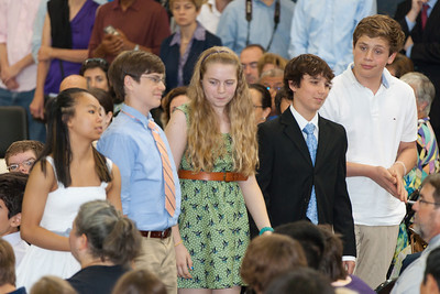 Sydney's friend, Allison (in the middle). 8th Grade Promotion at Williamsburg Middle School (Image taken by Patrick R. Kane on 21 Jun 2012 with Canon EOS 5D at ISO 400, f2.8, 1/125 sec and 200mm)