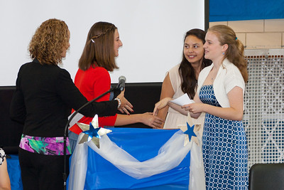 Emma Banchoff of Washington-Lee High School, being congratulated for winning the WMS Student Council Association's scholarship. 8th Grade Promotion at Williamsburg Middle School (Image taken by Patrick R. Kane on 21 Jun 2012 with Canon EOS 5D at ISO 400, f2.8, 1/160 sec and 160mm)