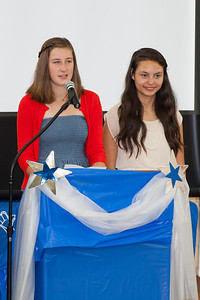 Abby and Lily announcing the Student Council Association's scholarship winner, Emma Banchoff of Washington-Lee High School. 8th Grade Promotion at Williamsburg Middle School (Image taken by Patrick R. Kane on 21 Jun 2012 with Canon EOS 5D at ISO 400, f2.8, 1/125 sec and 200mm)