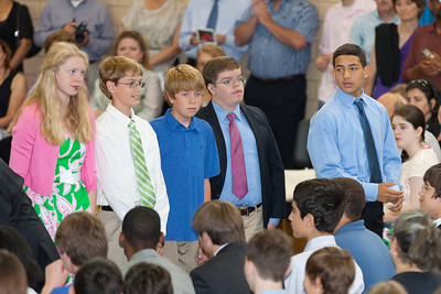 Sydney's friend, Suzanne, and Travis (at right) who played baseball with Christopher a couple of years ago. 8th Grade Promotion at Williamsburg Middle School (Image taken by Patrick R. Kane on 21 Jun 2012 with Canon EOS 5D at ISO 400, f2.8, 1/125 sec and 200mm)