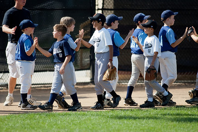 """""""Good game, good game."""" The Arlington Little League Bandits 9-yr old team wins a 10-3 scrimmage over Mason District Little League in fall ball. Bandits vs Mason (20 Sep 2009) (Image taken by Patrick R. Kane on 20 Sep 2009 with Canon EOS-1D Mark II at ISO 100, f2.8, 1/1000 sec and 300mm)"""