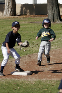 Christopher hustling to 2nd base during an opening day game. Yankees vs. Athletics, 2006 North Side Little League Baseball, Tee Ball Division