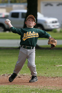 #05 Christopher Kane throwing the ball from 3rd base. Athletics vs. Astros, 2006 North Side Little League Baseball, Tee Ball Division