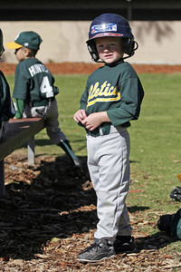 Christopher getting ready to bat during an opening day game. Yankees vs. Athletics, 2006 North Side Little League Baseball, Tee Ball Division