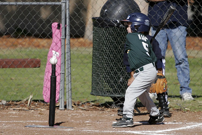 Christopher at bat during an opening day game. Yankees vs. Athletics, 2006 North Side Little League Baseball, Tee Ball Division