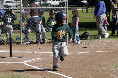 Another hit for Christopher during an opening day game. Yankees vs. Athletics, 2006 North Side Little League Baseball, Tee Ball Division