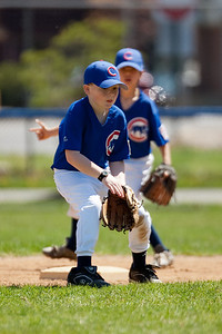 Christopher getting ready for the catch at 2nd base, but the ball arrived just a little too late. The Cubs won their 1st pre-season game 9 to 7. Cubs vs Angels (18 Apr 2009) (Image taken with Canon EOS-1D Mark II at ISO 100, f2.8, 1/1000 sec and 300mm)
