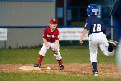 Oops. Christopher dropped Brandon's throw after taking his eye off the ball. The Nationals came up a little short in an exciting finish and were outscored by the Brewers 6-8. They are now 1-1 for the season. 2010 Arlington Little League Baseball, Majors Division. Nationals vs Brewers (14 Apr 2010) (Image taken by Patrick R. Kane on 14 Apr 2010 with Canon EOS-1D Mark II at ISO 1600, f2.8, 1/250 sec and 200mm)
