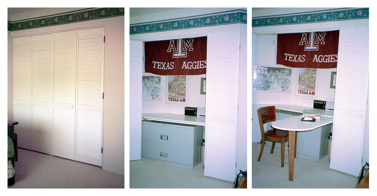 """Guest Room Closet (Jul 1996). The guest room closet was drafted into service as a computer desk and work area. Bi-fold doors and a movable L-shaped work surface were installed.  <A HREF=""""http://kanefamily.smugmug.com/gallery/3844286"""">Photo Album</A>"""