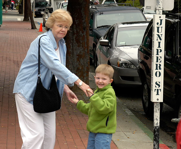 7-1-2005 -- Connor and Aunt Pat dancing in the streets of Carmel, CA.