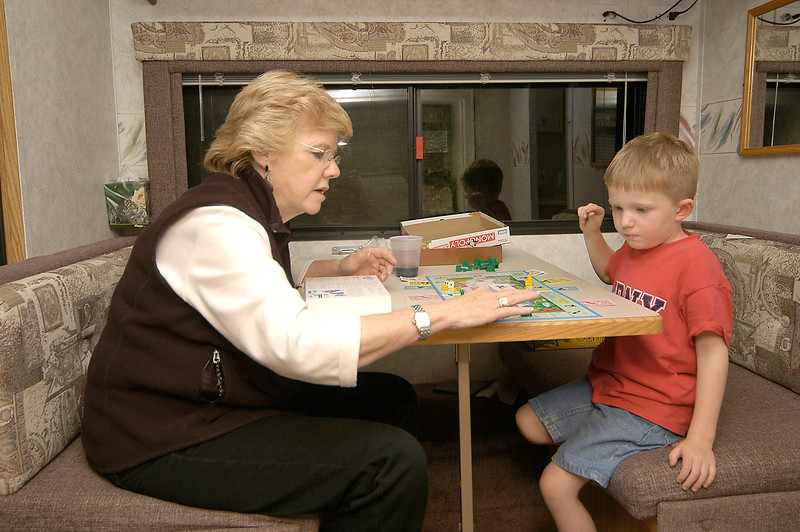 6-27-2005 -- Connor and Aunt Pat engaged in a high-stake game of Monopoly.