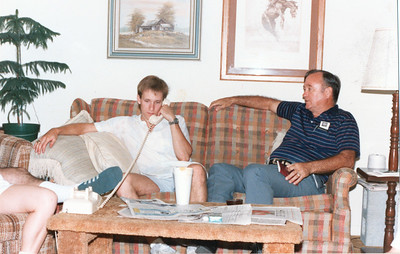 Patrick and Grady Kane at Patrick's college fourplex on Pedernales Drive, College Station, Texas, September 27, 1986