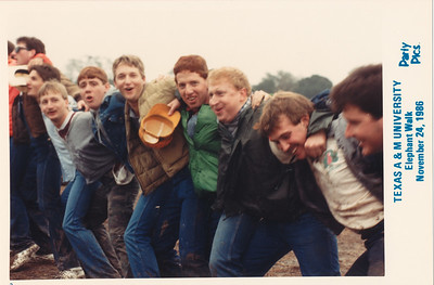 Rusty Baty third from right holding ball cap. TAMU Elephant Walk, College Station, Texas, November 24, 986